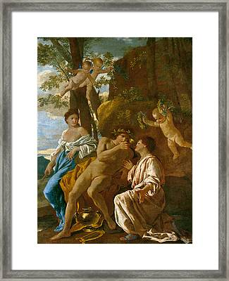 The Poet's Inspiration Framed Print by Nicolas Poussin