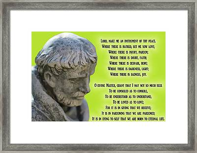 The Prayer Of Saint Francis Framed Print by Dan Sproul
