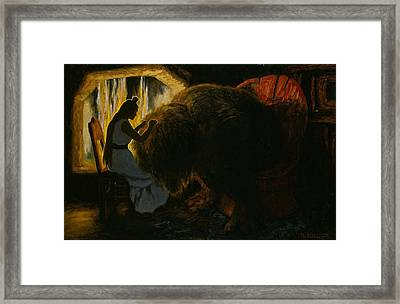The Princess Picking Lice From The Troll Framed Print by Theodor Kittelsen