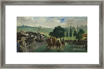 The Races At Longchamp Framed Print by Edouard Manet