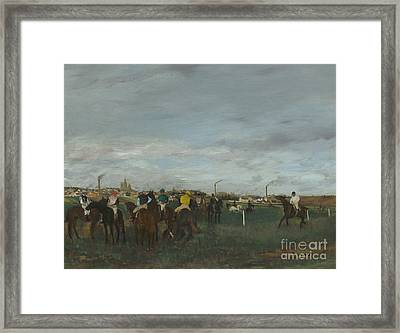 The Races Framed Print by Edgar Degas