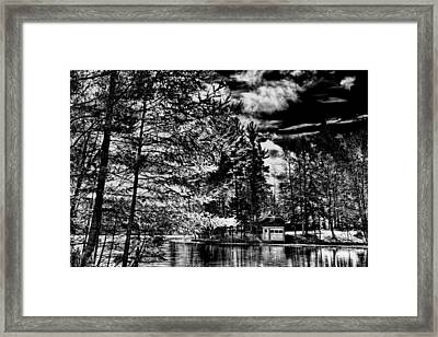The Red Boathouse In Old Forge Framed Print by David Patterson