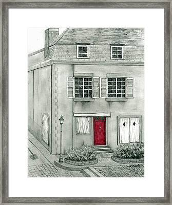 The Red French Door Framed Print by Mary Tuomi