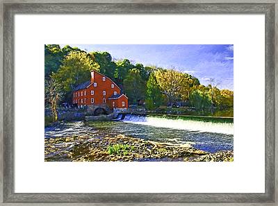 The Red Mill - Clinton  N J - Digital Painting Framed Print by Allen Beatty