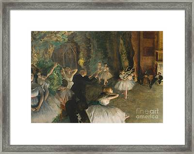 The Rehearsal Of The Ballet On Stage Framed Print by Edgar Degas
