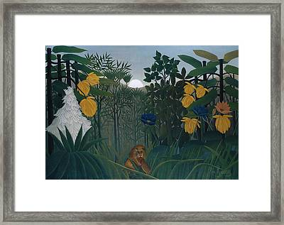 The Repast Of The Lion Framed Print by Henri Rousseau