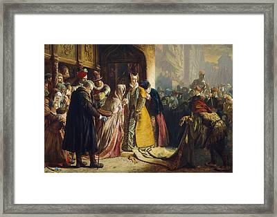 The Return Of Mary Queen Of Scots To Edinburgh Framed Print