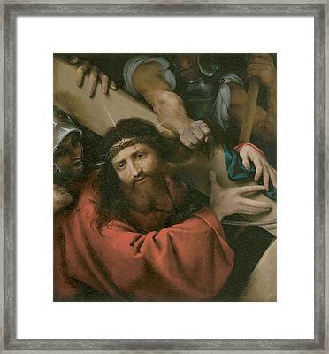 The Road To Calvary Framed Print by Lorenzo Lotto