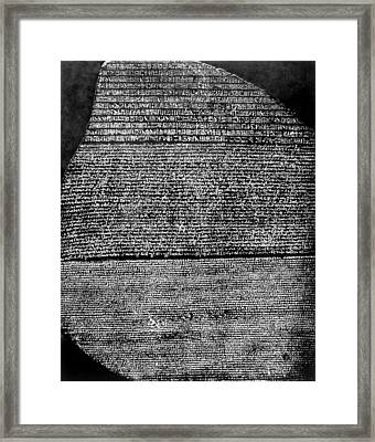 The Rosetta Stone, Basalt Slab Framed Print by Everett