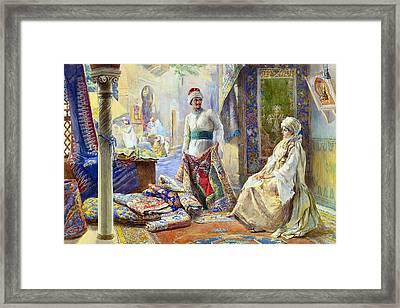 The Rug Merchant Framed Print by Munir Alawi