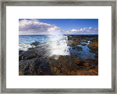 The Sea Erupts Framed Print by Mike  Dawson