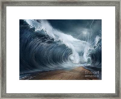 The Seas Are Being Parted Framed Print by Caio Caldas