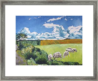 The Sheep Along The Road Framed Print