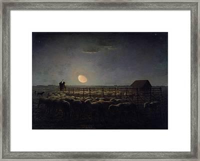 The Sheepfold, Moonlight Framed Print by Jean-Francois Millet