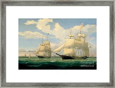 The Ships Winged Arrow And Southern Cross In Boston Harbor Framed Print by Celestial Images