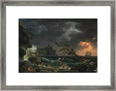 The Shipwreck Framed Print by Claude-Joseph Vernet