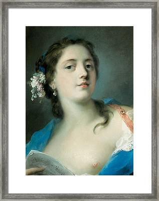 The Singer Faustina Bordoni With A Musical Score Framed Print by Rosalba Carriera