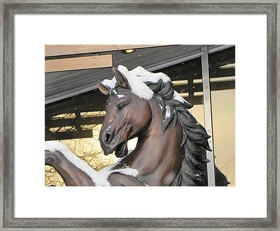 Framed Print featuring the pyrography The Stood Horse  by Yury Bashkin