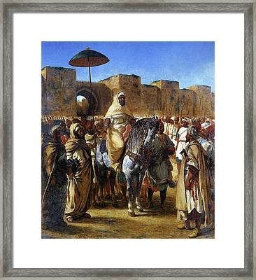 The Sultan Of Morocco Framed Print by Eugene Delacroix