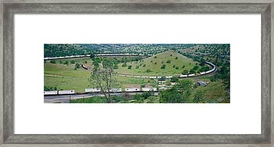 The Tehachapi Train Loop Near Tehachapi Framed Print by Panoramic Images