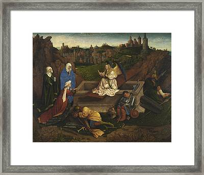 The Three Marys At The Tomb Framed Print by Jan van Eyck