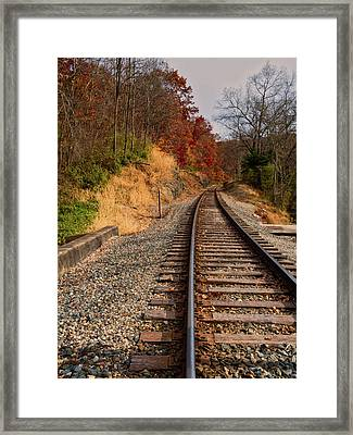 Framed Print featuring the photograph The Tracks In The Fall by Mark Dodd