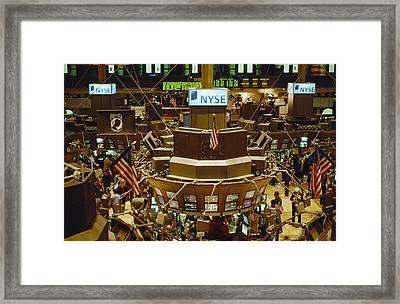 The Trading Floor Of The New York Stock Framed Print by Justin Guariglia