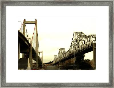 The Two Carquinez Bridges At Crockett And Vallejo California . Aka Alfred Zampa Memorial Bridge . 7d8830 Framed Print by Wingsdomain Art and Photography