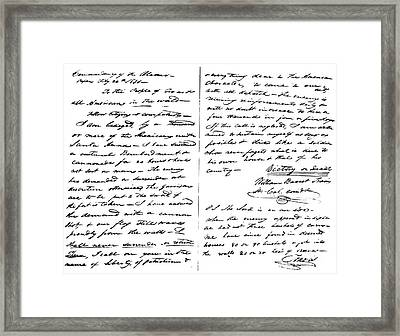 The Victory Of Death Letter Written By The Alamo Commander William Barret Travis, 1836  Framed Print