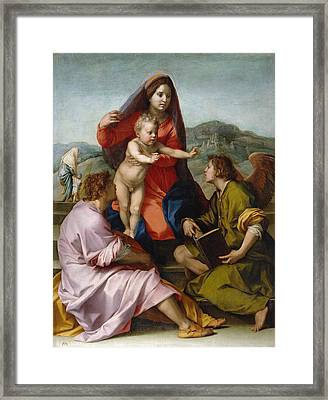 The Virgin And Child Between Saint Matthew And An Angel Framed Print by Andrea del Sarto