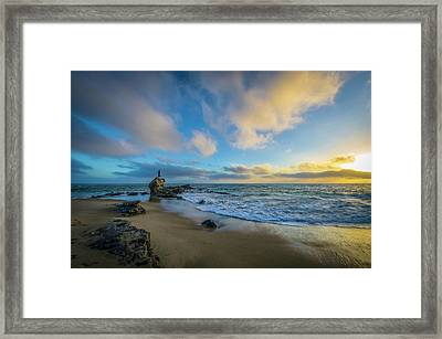 Framed Print featuring the photograph The Woman And Sea by Sean Foster