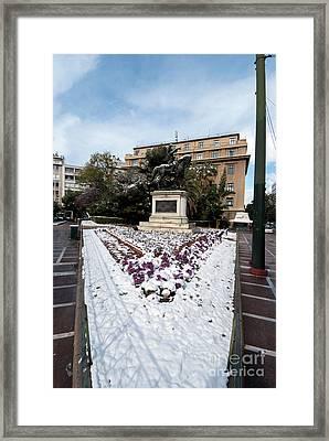 Theodoros Kolokotronis Statue With Snow Framed Print