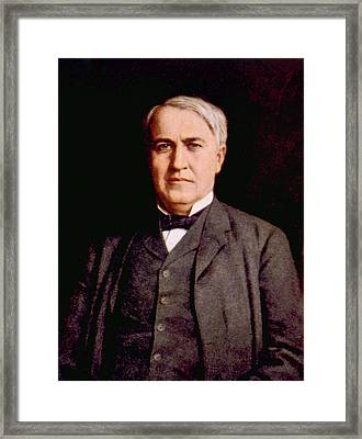 Thomas Alva Edison 1847-1931 Framed Print by Everett