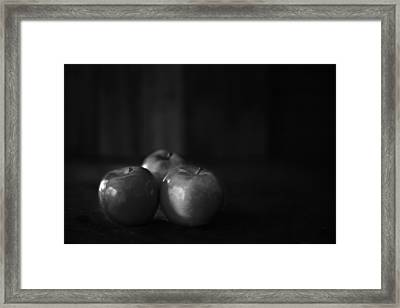 Three Apples Black And White Framed Print by Donald  Erickson