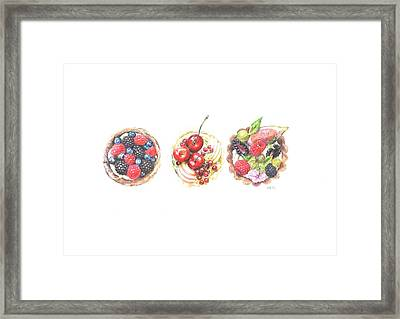 Three Berry Tartes Framed Print by Marta Gotliba
