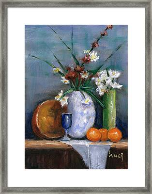 Three Clementines Framed Print by Linda Hiller
