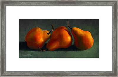 Three Golden Pears Framed Print by Frank Wilson