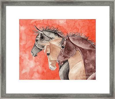 Three Horses On Orange Framed Print by Suzanne Joyner