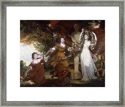 Three Ladies Adorning A Term Of Hymen, Framed Print by Joshua Reynolds