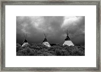 Framed Print featuring the photograph Three Teepee's by Carolyn Dalessandro