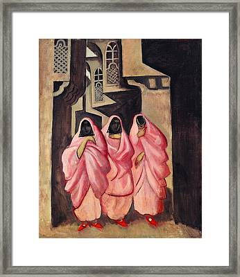 Three Women On The Street Of Baghdad Framed Print by Jazeps Grosvalds