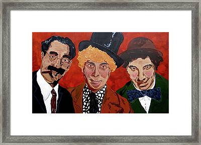 Three's Comedy Framed Print