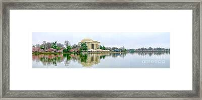 Tidal Basin With Cherry Blossoms Framed Print