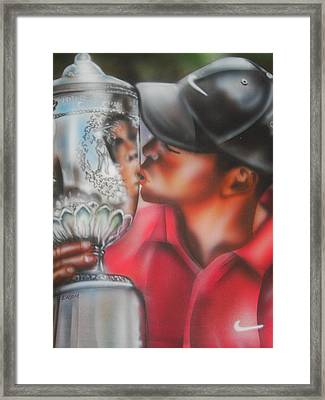 Tiger Woods Framed Print by Scott Easom