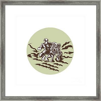 Tiitii Wrestling God Of Earthquake Circle Woodcut Framed Print