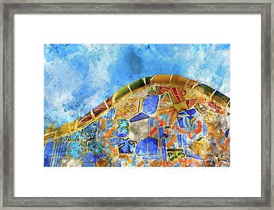 Tile Background In Parc Guell In Barcelona Spain Framed Print by Brandon Bourdages