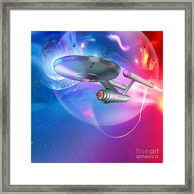 Time Traveling Spacecraft, Artwork Framed Print