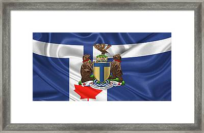 Toronto - Coat Of Arms Over City Of Toronto Flag  Framed Print by Serge Averbukh