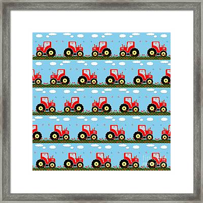 Toy Tractor Pattern Framed Print by Gaspar Avila