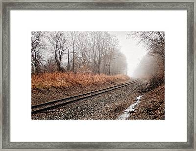 Framed Print featuring the photograph Tracks In Morning Fog by Lars Lentz